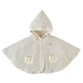 [SISSO organic cotton] Gray striped double woven elf cape