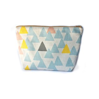 化妆包/杂物包 Canvas Large Zipper Pouch Clutch - Mountain or Triangle - Minimal Nordic