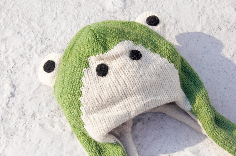 Christmas gift hand-woven pure wool scarf / knitted scarf / animal modeling scarves / bristles hand-woven scarves - gloves, scarves animal frog design triple caps