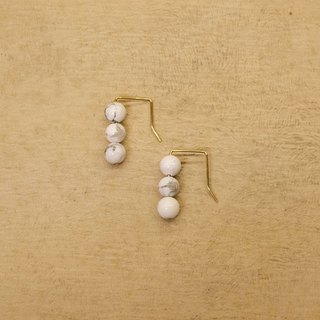 String Series Brass White Stone Dangle Earrings Ear Pins Without Pierced Ears