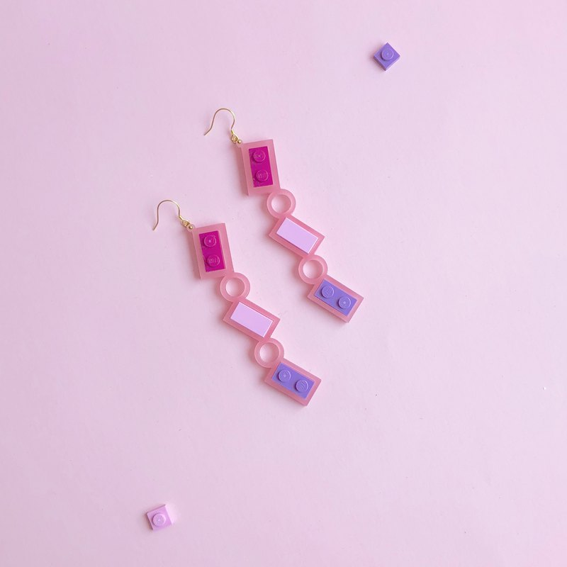 Dating Ice Cream Pink LEGO  rectangle Earrings