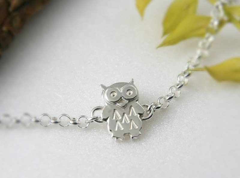 <Engraving Accepted> Sterling Silver Bracelet / Owl / Bird of Wisdom