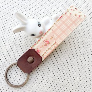 Rose Pink ,Personalized Fabric Fob Leather Keychain,Custom Keychain,Stamped Gift For Her,Blooming,Flower,Sweet,