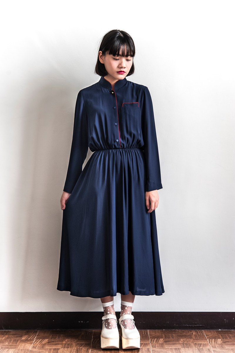 Vintage dark blue high collar vintage long-sleeved dress