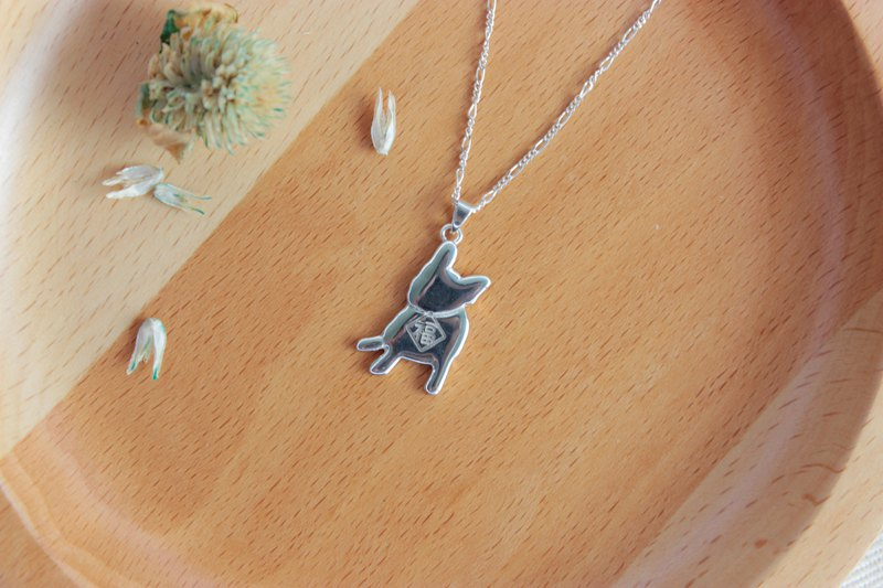 [Pet home] 925 sterling silver necklace French bulldog blessing hair child Want Want