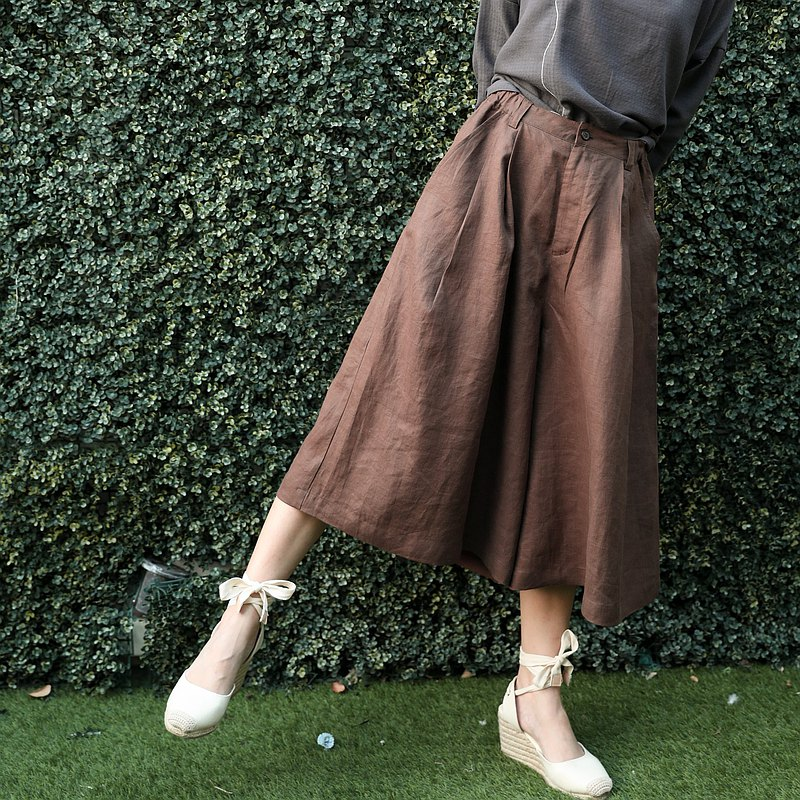天然麻闊腿褲-巧克力棕色