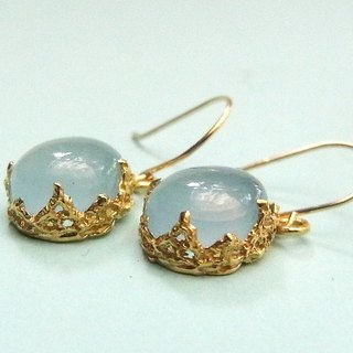 """nugget"" blue chalcedony lace earrings"