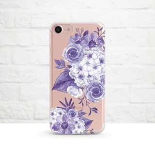 Retro Floral Arrangement, Violet, Clear Soft Phone Case, iPhone X, iphone 8, iPhone 7, iPhone 7 plus, iPhone 6, iPhone SE, Samsung