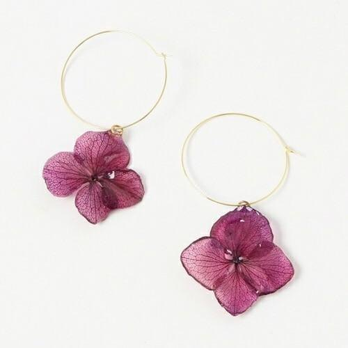 "Hydrangea hoop earrings ""Wine"""