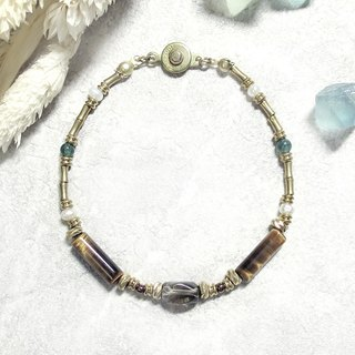 ♦ ViiArt ♦ distant river - Seine river ♦ tiger eye stone tea crystal pearl brass bracelet