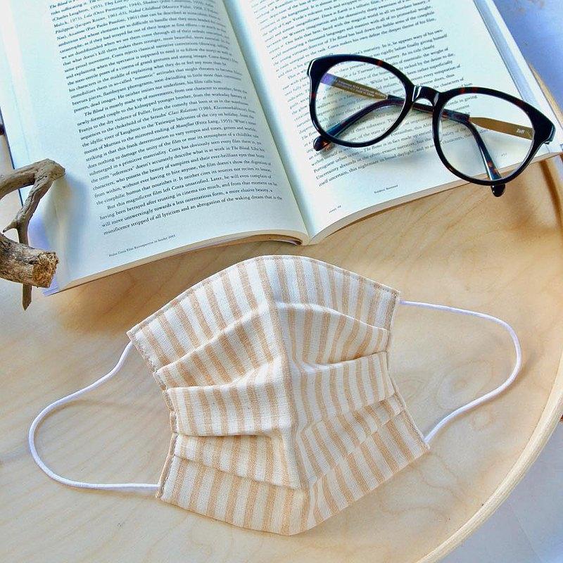 男性用 手工立體口罩 可洗滌 日本製純棉二重紗布 條紋 米色 成人