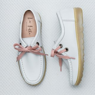 Walking Lohas Leather Casual Shoes _ Pearl White