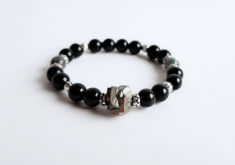 Gemstone Night Moro Natural Ore Pyrite Obsidian Labradorite Bracelet