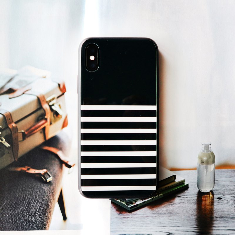 French black and white striped glass phone case