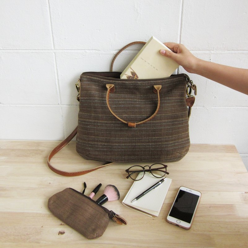 Crossbody Curve Bags Hand woven and Botanical Dyed Cotton Brown-Blue Color