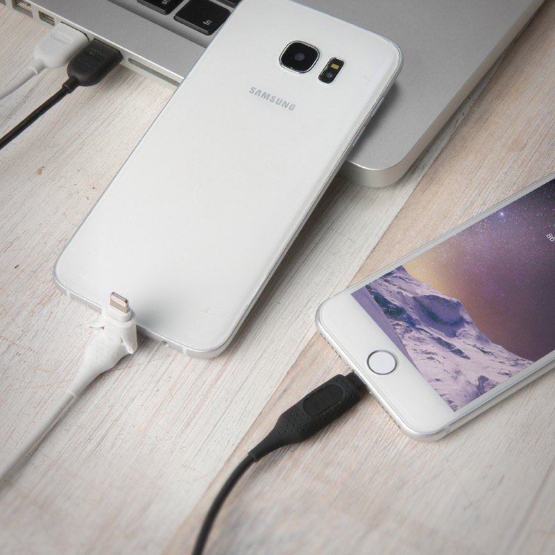 Bone / 2-in-1 double-head charging cable (Lightning / micro USB) - black / white