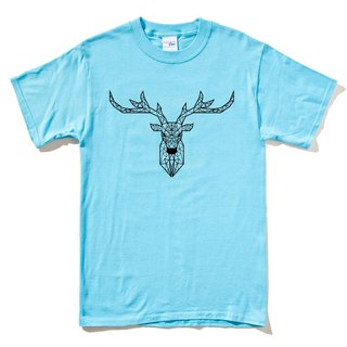 Deer Geometric short-sleeved T-shirt sky blue geometric de universe design own brand Milky Way trendy round triangle