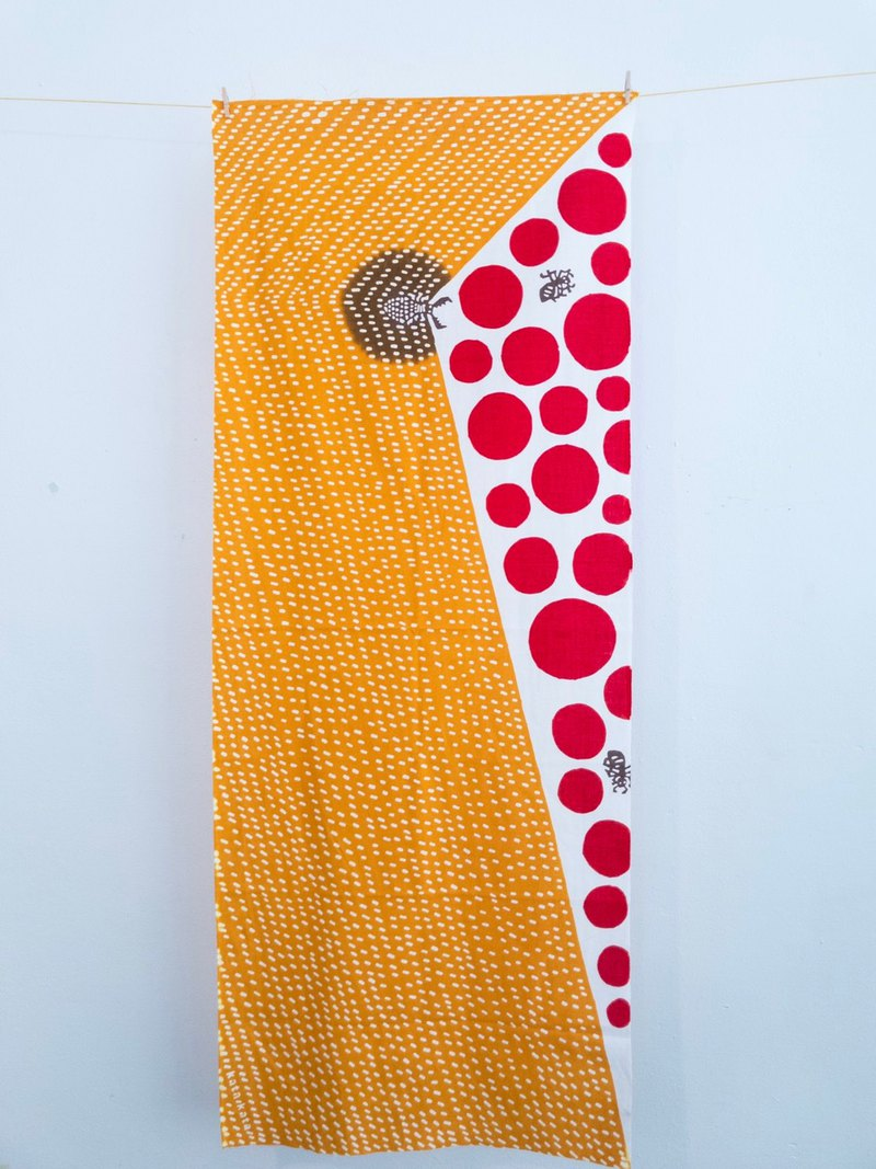 KATA KATA Hand Scarf Towel_Insect World - Two Colors - Yellow/Gray 36 x 90 cm