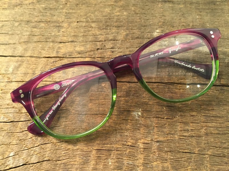 Absolute Vintage - Gough Street (Gough Street) pear-shaped plate frame glasses Young - Purple & Green Purple Green
