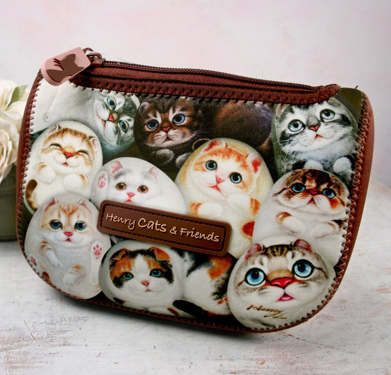 [Henry House Family] Diving cloth multi-function storage bag - Hundred Cats