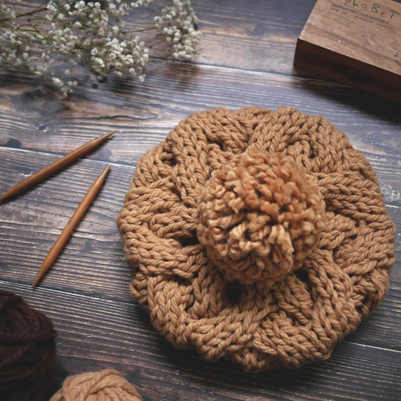 Thick needle twist detachable ball knit wool beret cap - brown