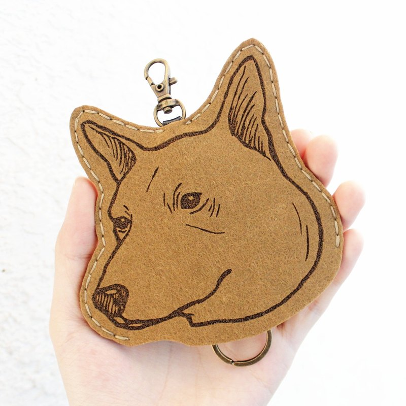 Dog-Dog Series - Wool key case Key sets / Wool key case < <Taiwan Dog 台灣犬 - 棕色 > > Wool felt gogoro key holder