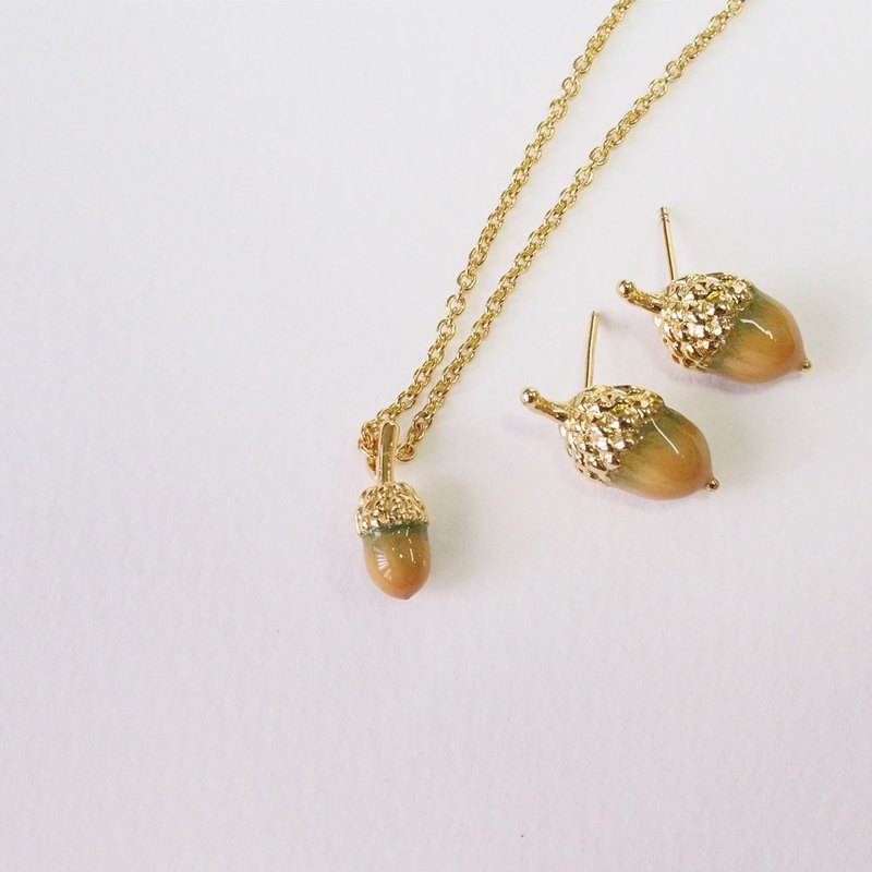 Little Acorn Necklace (Yellow Mustard)