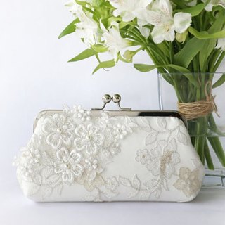 Handmade Clutch Bag in ivory | Gift for bridal | Pearl Sakura Cherry Blossoms Flower Vine Lace