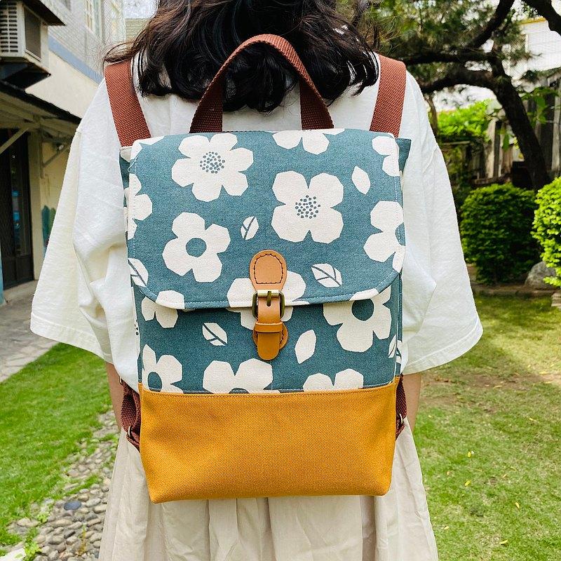 Pensée 夏菫 花布系列 後背包 側背包 兩用包 純手作 禮物