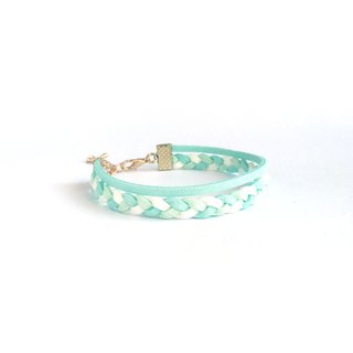 Handmade Double Braided Infinity Bracelets Rose Gold Series–pale blue limited
