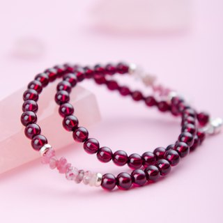 Red Garnet, Tourmaline, Strawberry Rose Quartz, 925 Gemstone Crystal Bracelet