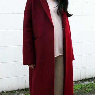 Single button Kashimier burgundy wool coat (other colors can be customized)