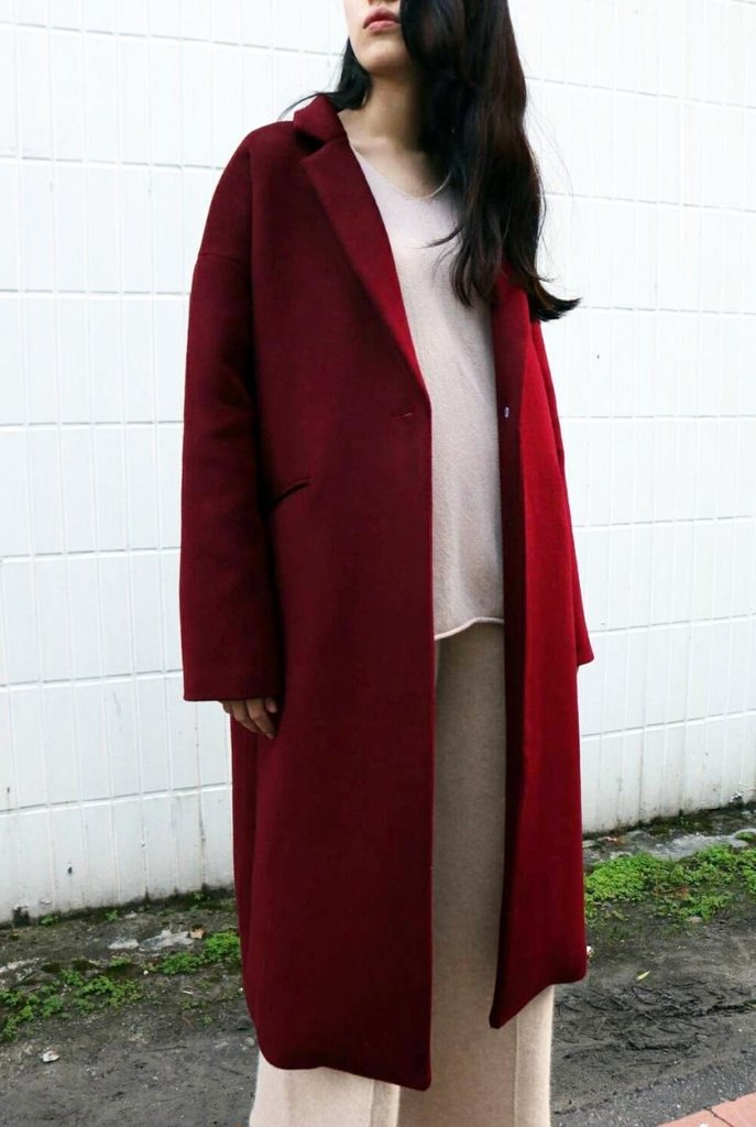 Wine red single buckle Kashmir wool coat (can be customized in other colors)