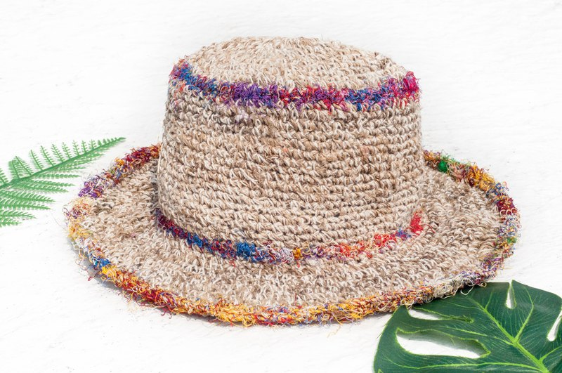 Handmade sari thread woven cotton hat / knit hat / fisherman hat / straw hat / straw hat - sari line weaving