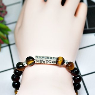 Natural stone X sterling silver elastic bracelet <six words mantra> #中风风#Religious style