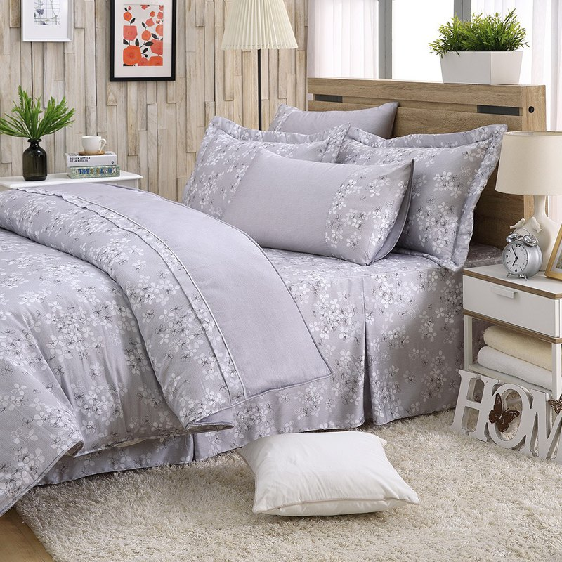 Large size fresh flower bud (grey) - Tencel dual-use bedding set of six [100% lyocell]