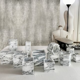 [Flower A - Gray - White] Marble Pottery Home Decoration