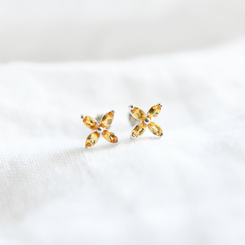 Fraternity and hope prosperity and wealth fortune stone flower citrine stud earrings November birthstone