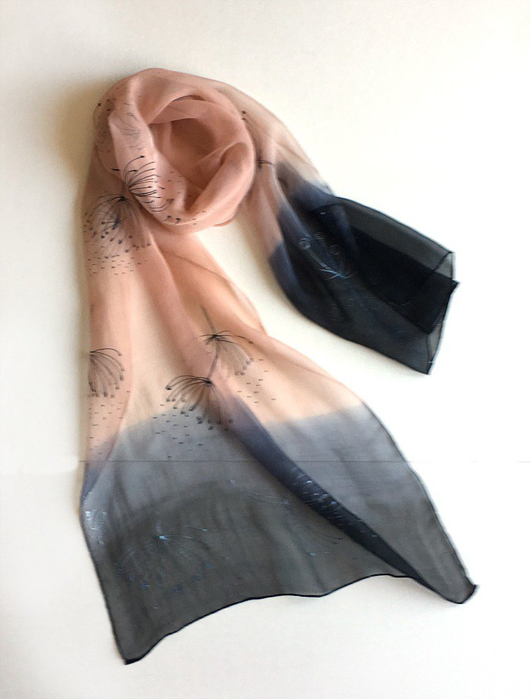 Apricot Silk Chiffon scarf with black borders