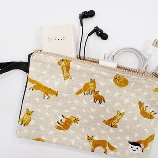 Childhood couple | light apricot fox storage bag