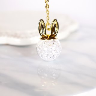 Rabbit Ear Shape with White Crystal Glass Ball Necklace