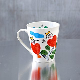Red Heart Bird Mug Cup Talking in the Sky L