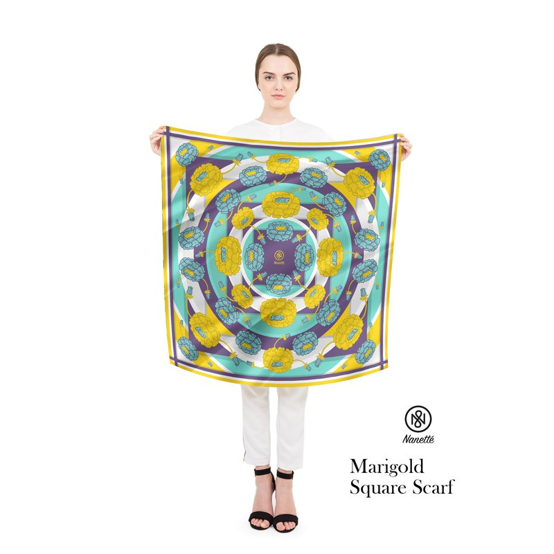 Marigold Square Scarf (Personalized name)