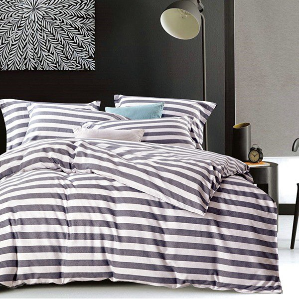 IKEA style (grey) - double-sided design 100% combed cotton sheet bed set of four pieces (double size)