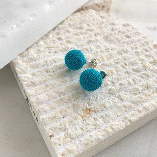 Cotton lace yarn Crocheted Pierced Earrings