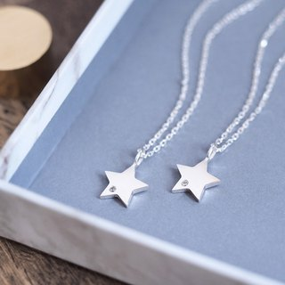 2 co set) white Star Pair Necklace Silver 925