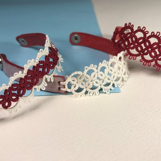 Tatted lace leather bracelet- gift/  handmade/rub wax leather/ customize