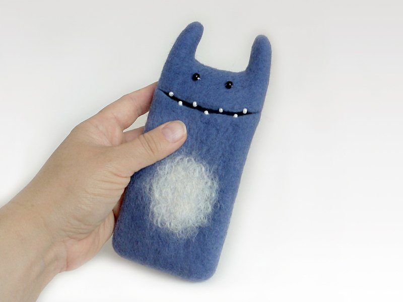 Monster case for iPhone SE, steel blue case, unique gift idea, felt case