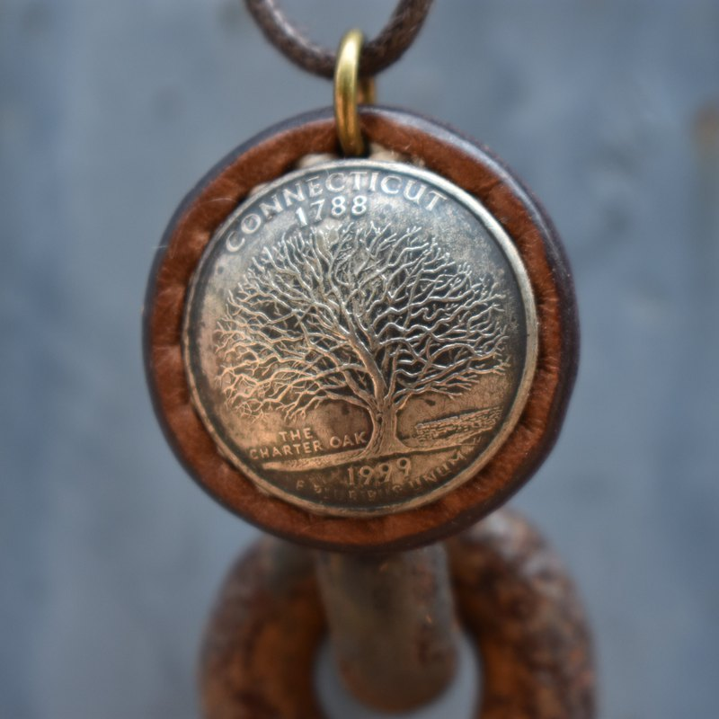 Handmade real money necklace [tree of life] Keychain hand-sewn [CarlosHuang Acacia]