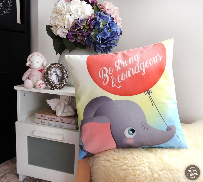 Be Strong & Courages cute little elephant 45x45cm micro velvet pillow cover